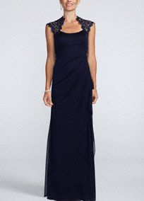 Elegant lace and a modern silhouette make this sheer mattejersey dress the perfect ensemble for any special occasion!  Cap sleeve bodice features delicate and feminine metallic lace detail and illusion back.  Empire waist and side ruching helps create a stunning silhouette and flattering figure.  Long sheer matte jersey skirt adds movement and is ultra-comfortable.  Fully lined. Back zip. Imported polyester. Professional spot clean Also available in Plus sizes as Style XS4667W.