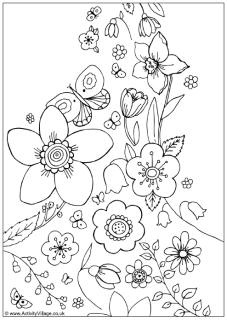 Spring flowers colouring page (more coloring pages that would be nice for embroidery)