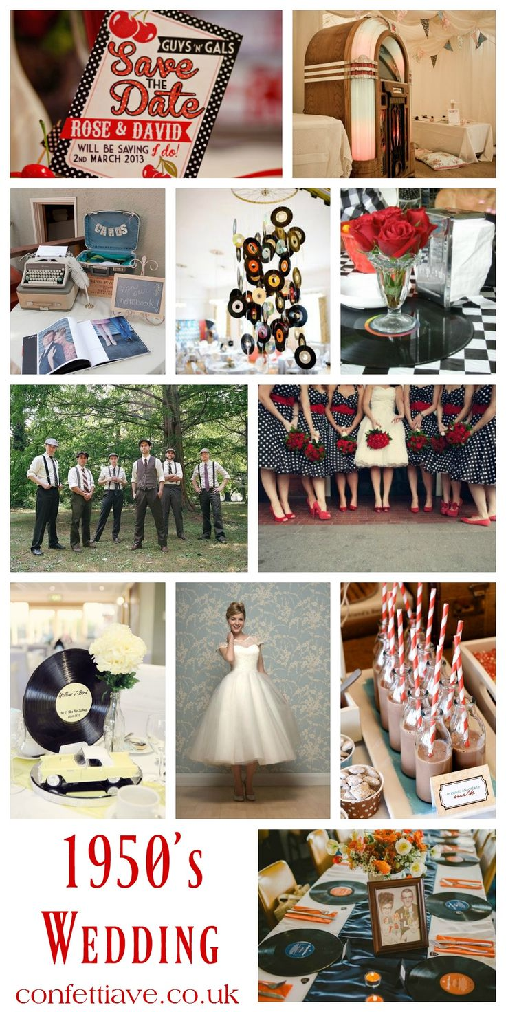 1950s Wedding Theme | Mood Board http://confettiave.co.uk/1950s-wedding-theme
