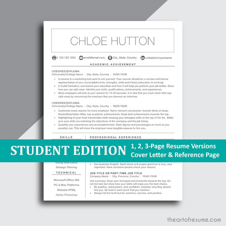 Resume For Student, College Graduate Modern Resume
