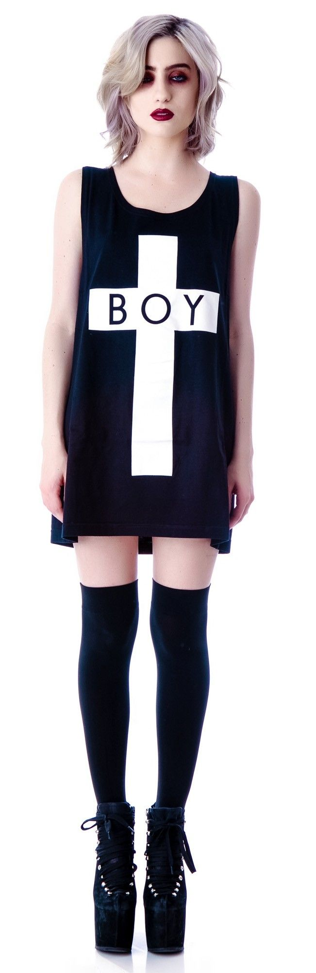 X Boy London Boy Cross Oversized Tank http://www.dollskill.com/long-clothing-boy-cross-tank.html