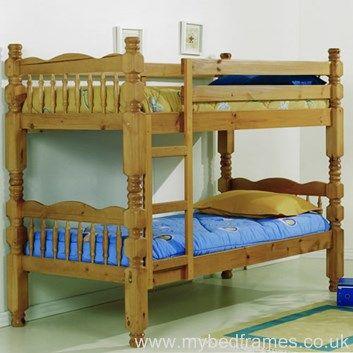 Trieste natural wood bunk bed from mybedframes.co.uk