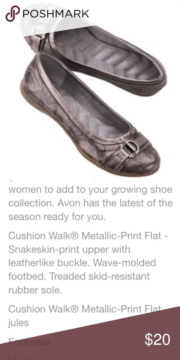 NWOT! Metallic snakeskin print flats -Cushion Walk New without tag! Metallic snakeskin print flats - Cushion Walk from Avon. Stock image from Pinterest, actual images coming soon. Avon Shoes Flats & Loafers