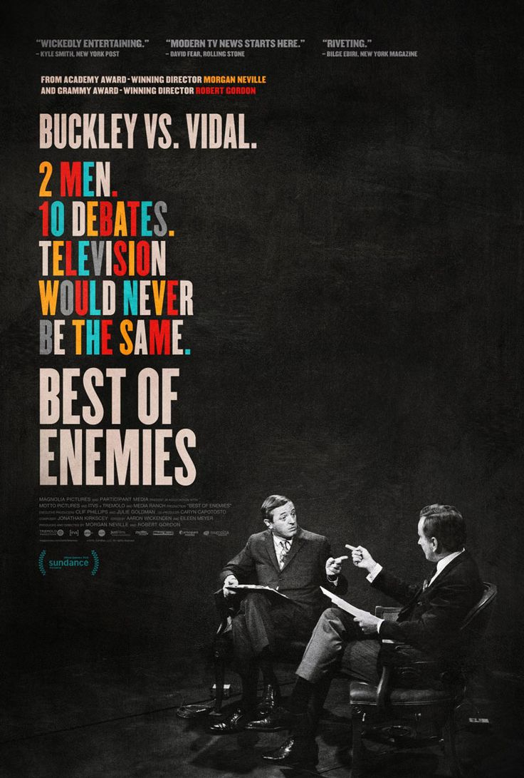 US one sheet for BEST OF ENEMIES (Morgan Neville, USA, 2015)Designer: Gravillis Inc.Poster source: IMPAwards