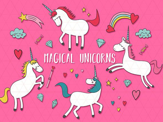 Magical Unicorns Clipart + 4 Unicorn Digital Papers - Unicorn Party, Unicorn Invitation, Unicorn Graphics, Unicorn Printable, Cute Clipart  This listing is for a clipart set of 22 digitally hand drawn high quality unicorn design elements + 4 BONUS digital papers. Can be used digitally or in print. Perfect for invitation design, scrapbooking, cardmaking, stickers, announcement cards, blogs, greeting cards, web design, decorations or anything! Looks great on light and dark backgrounds…