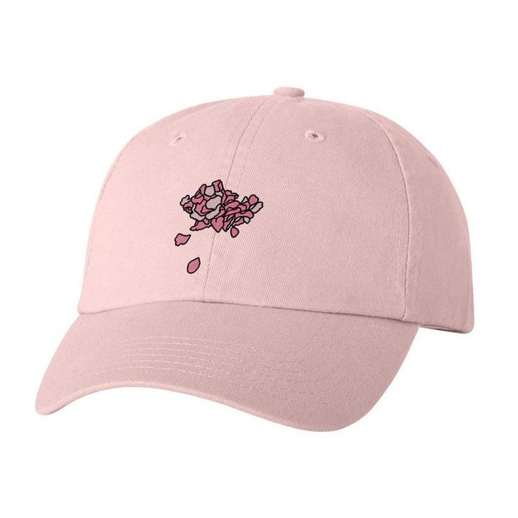 100% BIO WASHED CHINO TWILL LIGHT PINKADJUSTABLE UNSTRUCTURED HAT. FLOWER PETALSEMBROIDERED ON THE FRONT & TROYE SIVANLOGO EMBROIDERED ON THE BACK. ONE S