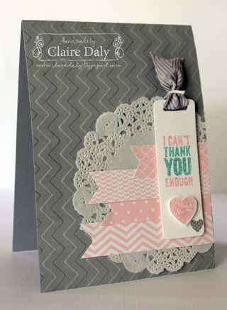"By Claire Daly, Australia, Stampin' Up! ""Chevron"" embossing folder, ""Chalk Talk"" stamp set and framelits"