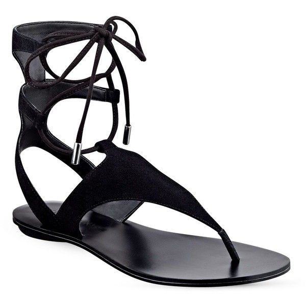 Kendall and Kylie Faris Suede Flat Gladiator Sandals ($110) ❤ liked on Polyvore featuring shoes, sandals, black, kohl shoes, roman sandals, black sandals, flat shoes and flat gladiator sandals