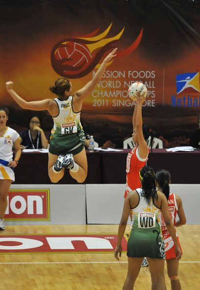 Amanda Mynhardt of South Africa on the defence during the match between Singapore and South Africa on day three of the 2011 World Netball Championships at Singapore Indoor Stadium on July 5, 2011 in Singapore.