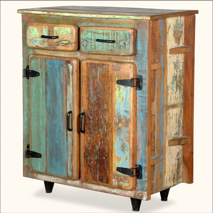 Appalachian Rustic Painted Old Wood Standing Kitchen Utility Cabinet