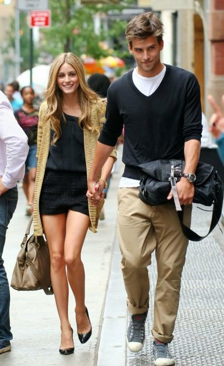 Olivia Palermo with her hot accessory...he even knows how to look hot holding a man-bag...mmm...and when they get to dinner - HUMPhooks will handle both bags! www.humphooks.com