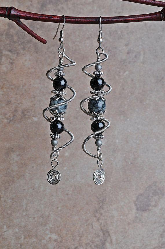 Copper Wire Earrings Silver Spiral Cage by JeanneAshleyJewelry, $18.00