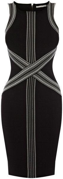 Tribal Graphic Stripe Bandage Dress - Lyst
