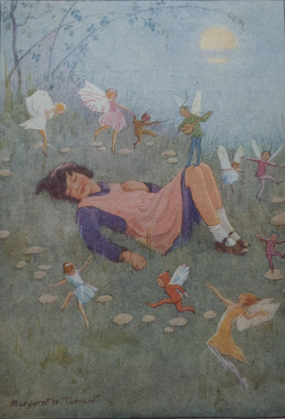 Vintage Children's Print - Margaret Tarrant - Alice and her Fairy Dream - Fairy Ring - Winged Fairies - Toadstools - Matted - Ready to Frame