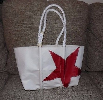 Sea Bags Maine Red Star Tote Bag Recycled Sails NWT
