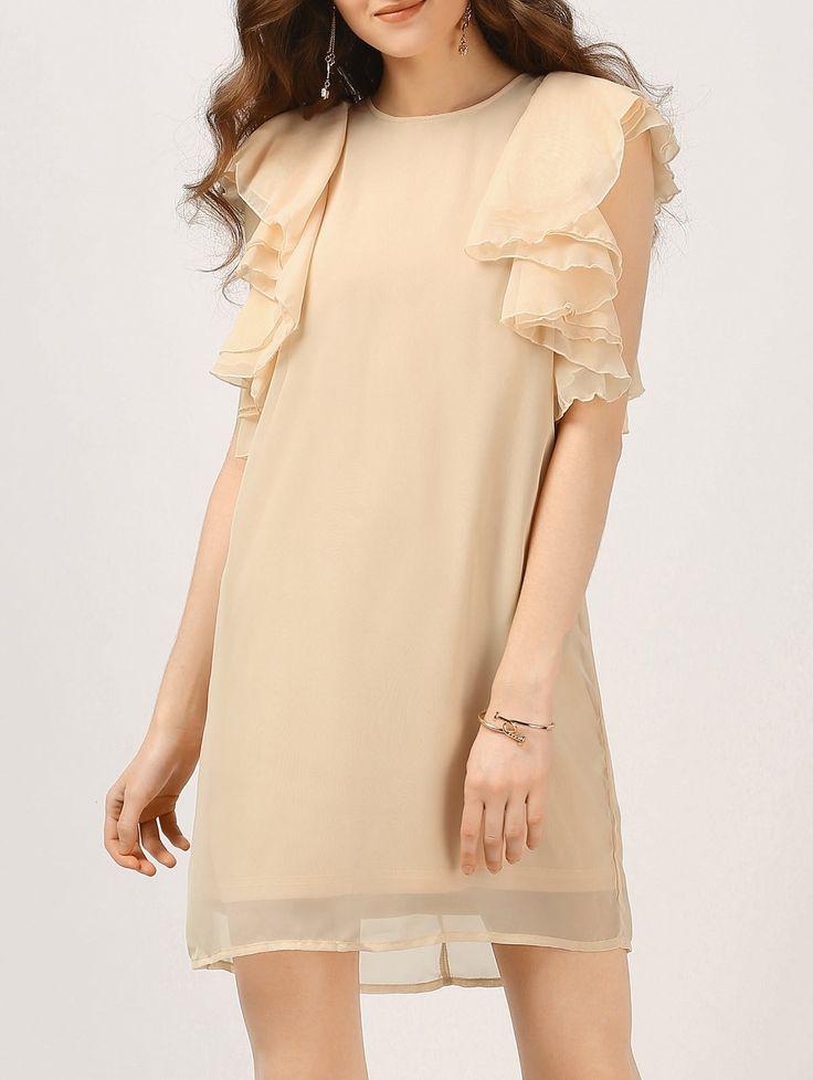 Chiffon Ruffles Mini Dress NUDE: Mini Dresses   ZAFUL