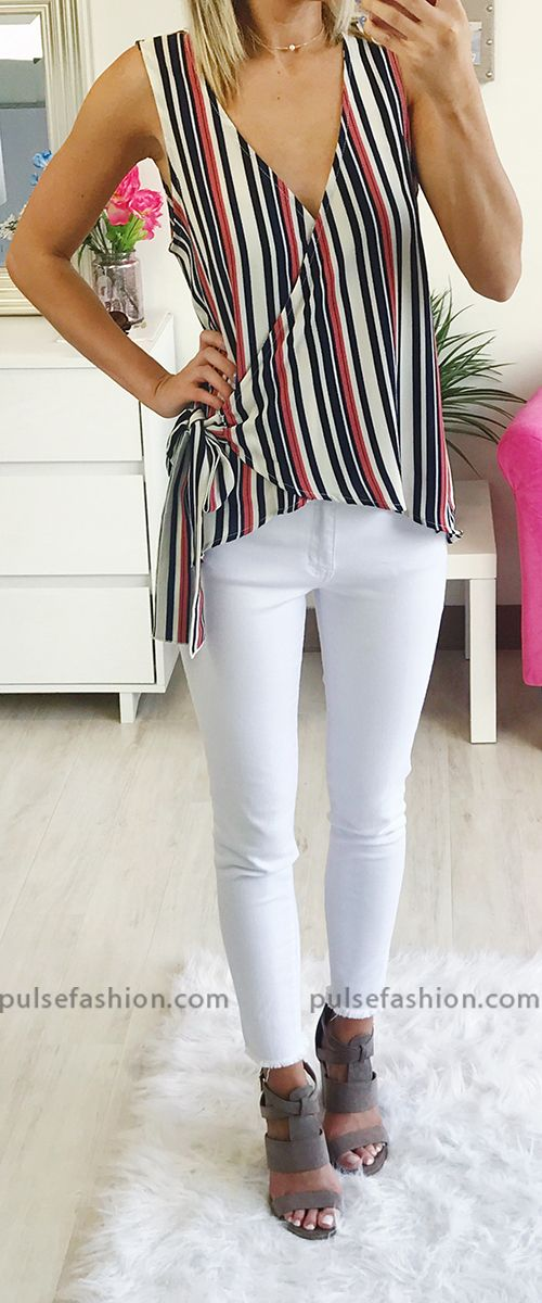 e23126d838143 This adorable wqrap top features stripes and a side tie!  WrapTop  Stripes   OOTD  WomensFashion