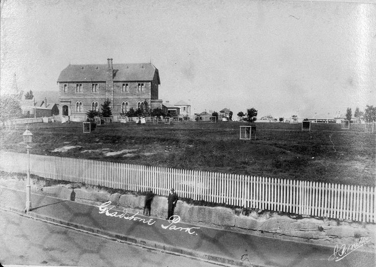 Gladstone Park and school from Darling Street - Balmain, ... c 1890 ... Photographed by - James Mills ... sl.nsw
