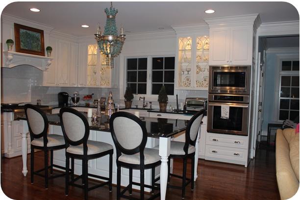 White and black kitchen, Currey & Co. Chandelier