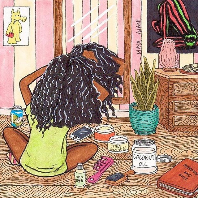 Hope all my curlfriends are enjoying this snow day. @preadolescentboy has captured my life in this amazing piece of art. Hehe #CurlMix #naturallycurly #curvycurl #curls