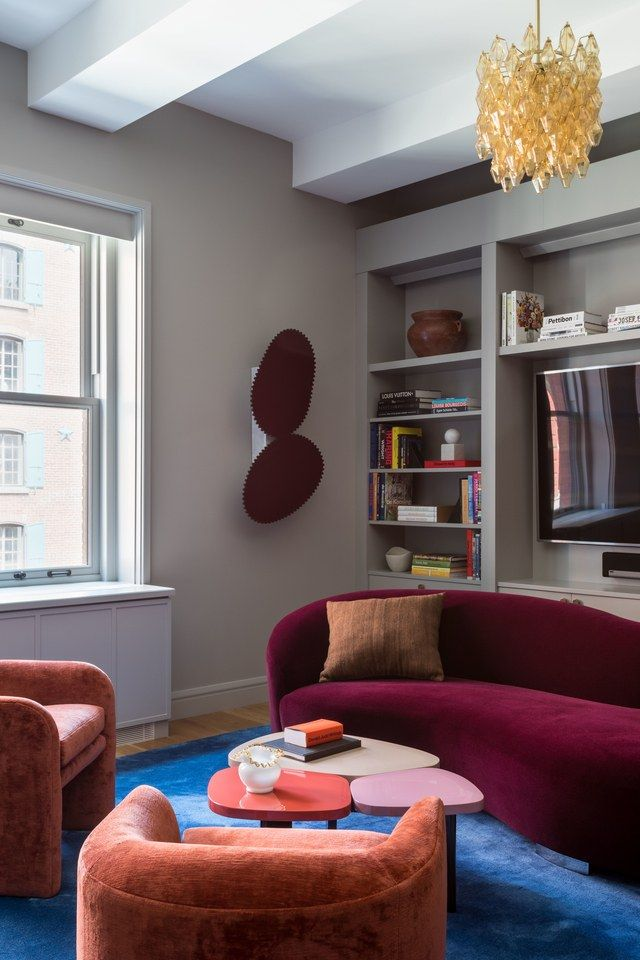 Firm Ashe Leandro Craft A Colorful Velvet Dream For A Young Family Purple Living Room Blue Living Room Living Decor #purple #and #blue #living #room