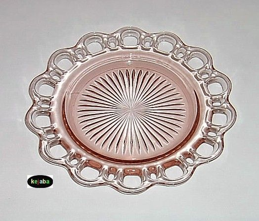 PATTERN NAME: OLD COLONY  ALIAS NAMES: LACE EDGE, OPEN LACE  CATAGORY: DEPRESSION  MANUFACTURER: HOCKING  YEARS MADE: 1935 - 1938  PRIMARY COLORS: Pink  OTHER COLORS: Crystal, Green    Pattern consists of a cup and saucer, creamer and sugar, several sizes of bowls and plates, 3 styles of tumblers plus several other additional pieces.