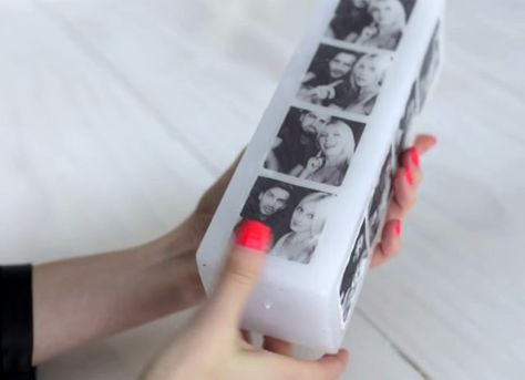 DIY Photo transfers onto to wax candles.                                                                                                                                                                                 More