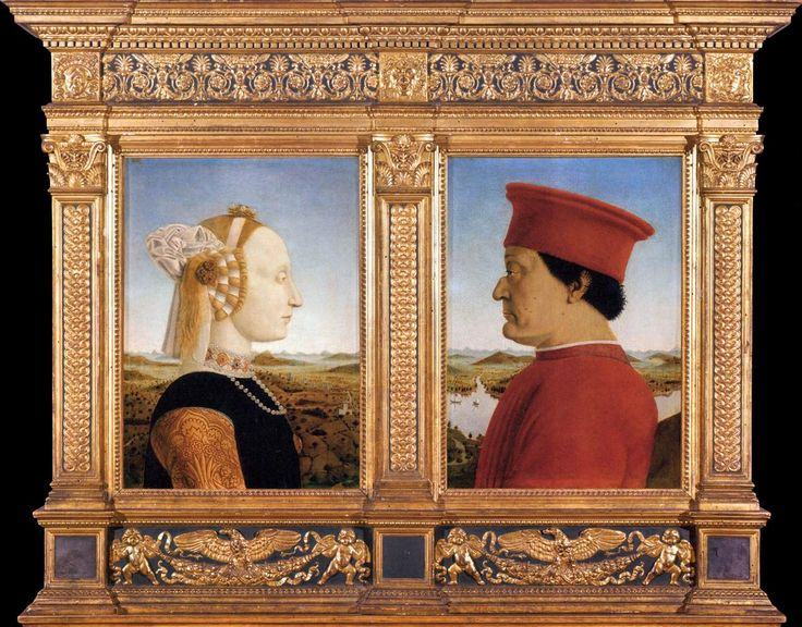 Piero della Francesca, Portraits of Federico da Montefeltro and His Wife Battista Sforza, 1465-66  https://www.artexperiencenyc.com/social_login/?utm_source=pinterest_medium=pins_content=pinterest_pins_campaign=pinterest_initial