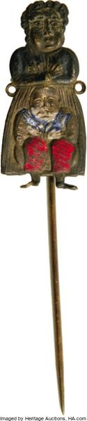 """Political:Miscellaneous Political, Lockwood and Butler Mechanical Stick Pin, stamped and painted tin,.5"""" x 2.75"""" overall. Belva Lockwood and Benjamin Butler a..."""