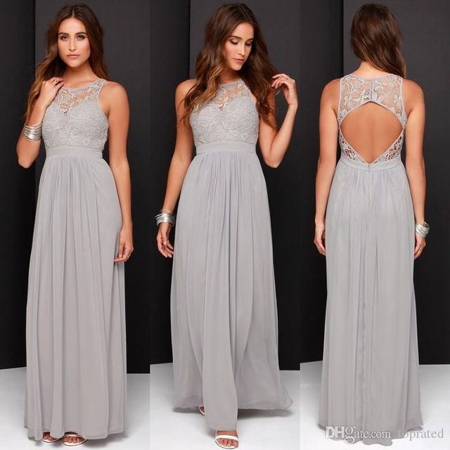 2016 elegante gris claro de la gasa de encaje de dama de honor vestidos Hollow volver vestidos del partido vestido de festa casamento de