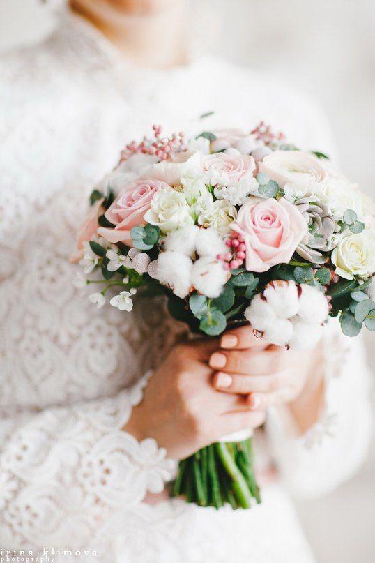 нежный букет невесты с хлопком