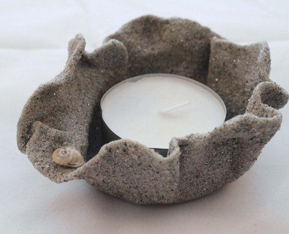 Porta candela. Candela di sabbia. Candela mare sabbia.