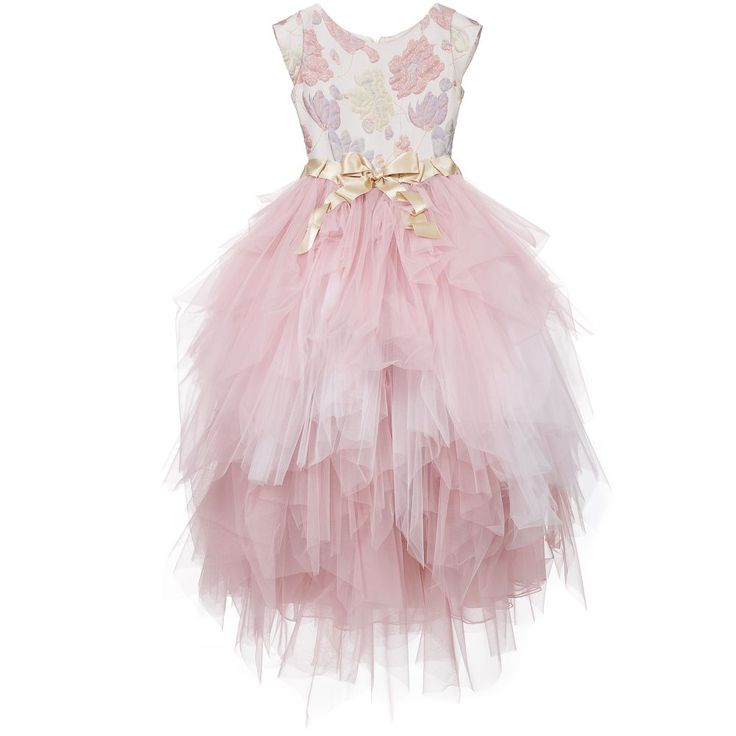 Lesy Pink & Gold Long Jacquard Dress with Tulle at Childrensalon.com