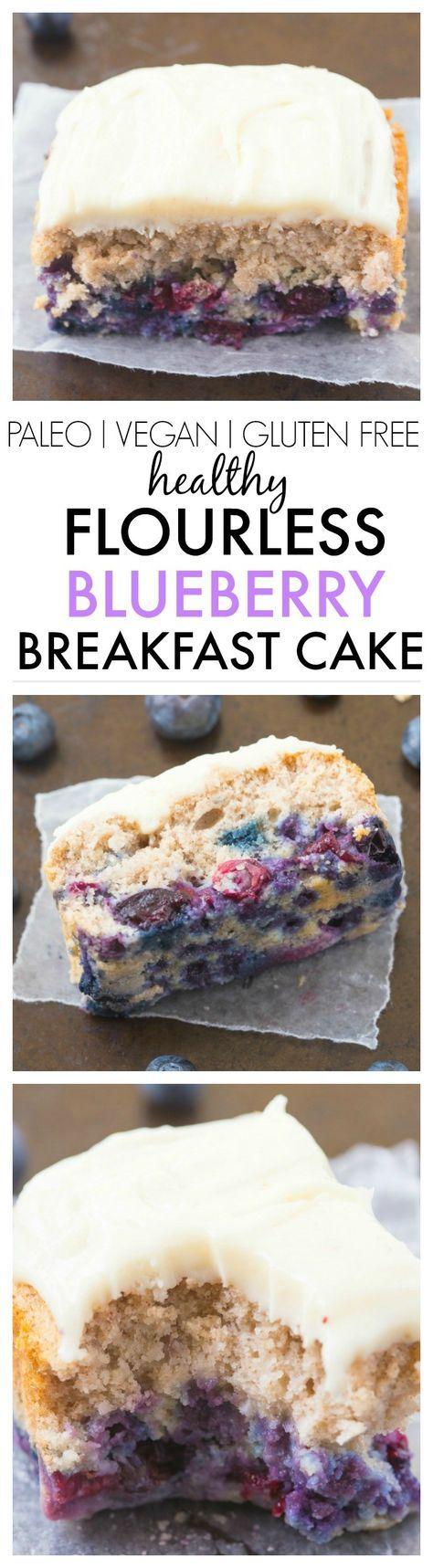 Healthy Flourless Blueberry Breakfast Cake- Light and fluffy on the inside, tender on the outside, have a guilt free dessert for breakfast- NO butter, oil, flour or sugar! {vegan, gluten free, paleo recipe}-