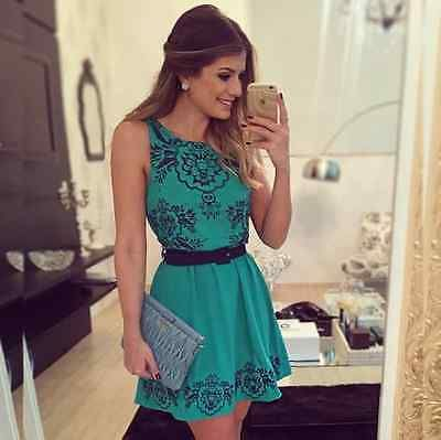 Sexy Women Summer Sexy sleeveless Floral Casual Short Evening Party Mini Dress