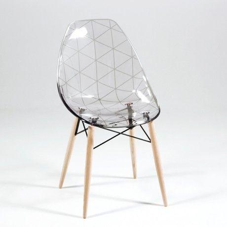 Chaise scandinave transparente avec pieds en bois prisma Chaise scandinave transparente casa