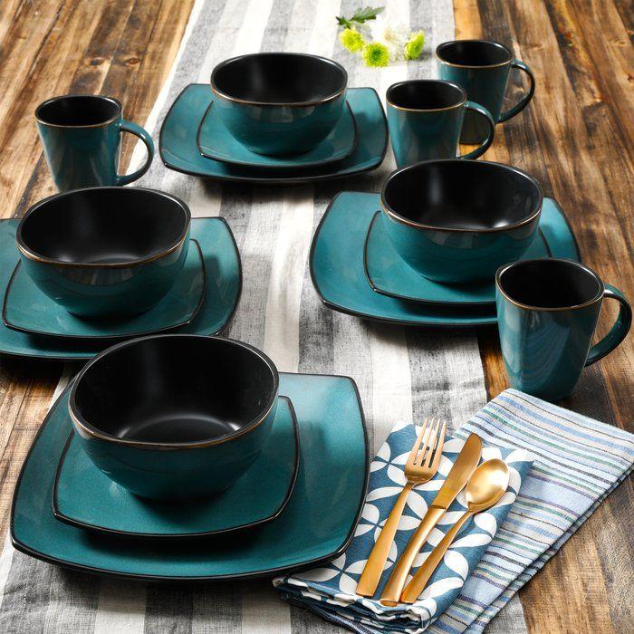 Kendell 16 Piece Dinnerware Set Service For 4 Square Dinnerware