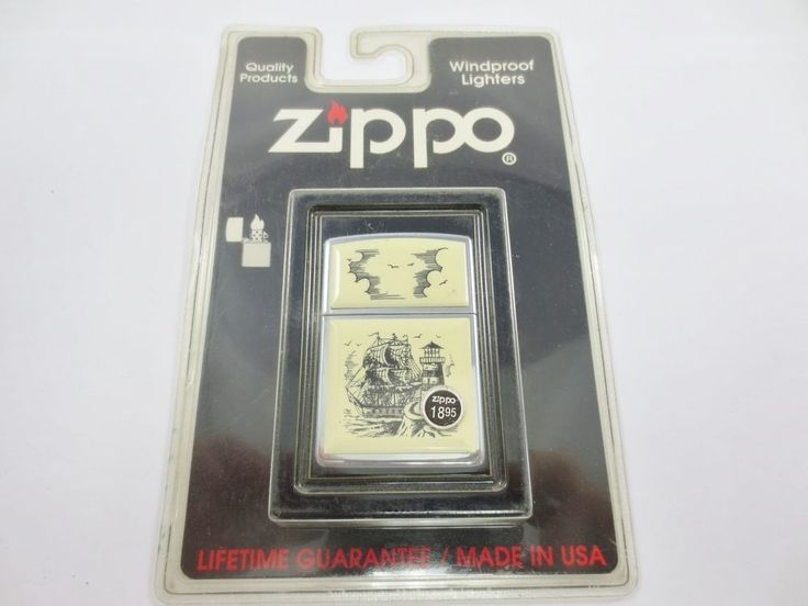 ZIPPO USA Cigarette Lighter New Old Stock w Case #359 BP SCRMSHW SHIP NAUTICAL