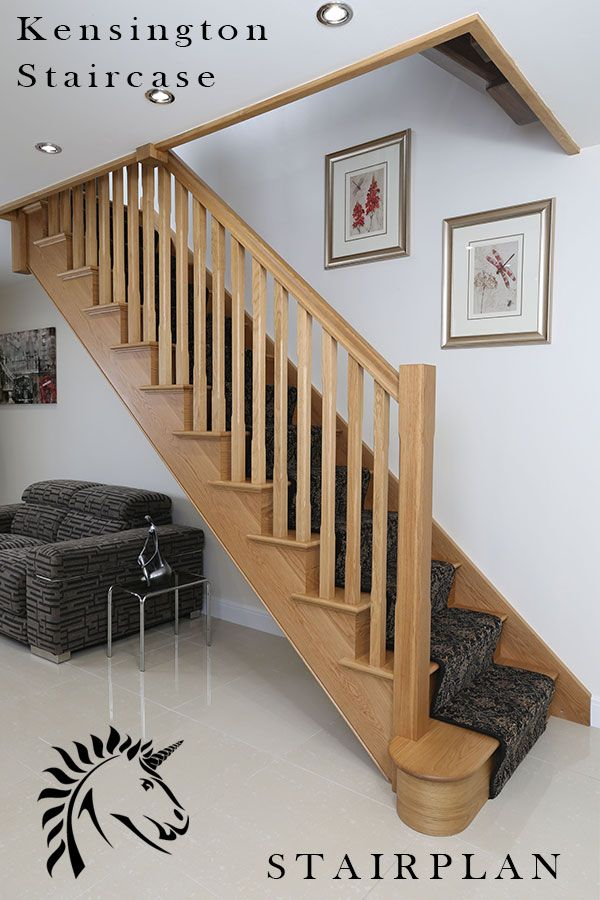 Kensington white oak cut string staircase