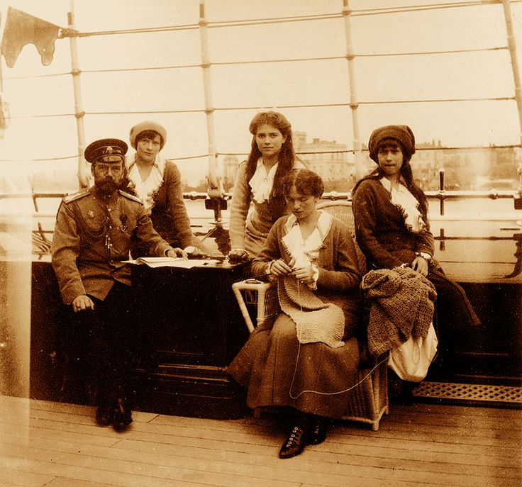 Tsar Nicholas II with his daughters.
