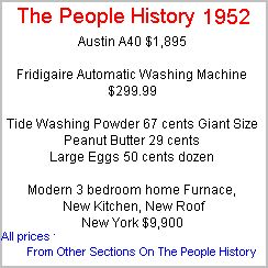 1952 History, events, news popular culture from 52, technology advances part of the Baby Boomer Years of the Fifties     history More Prices available for 1952 From Cars, Food, Clothes, Homes, Electrical Sections Of The People History (For all years)