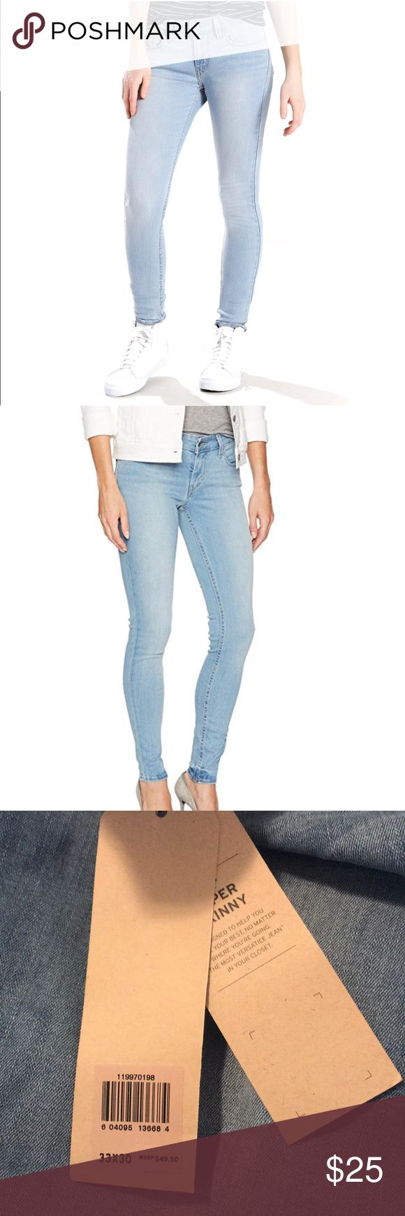 Levi's 535 Super Stretch Jeans: Light Wash Denim NWT Mid Rise Slim Throughout Hip & Thigh 33x30 Levi's Jeans Skinny