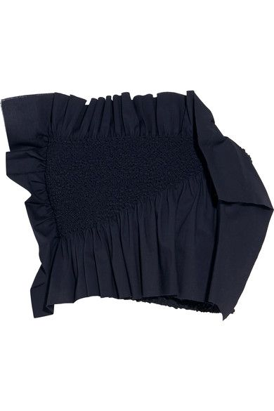 Cédric Charlier - Ruffled Smocked Stretch-cotton Poplin Bustier Top - Navy - IT4