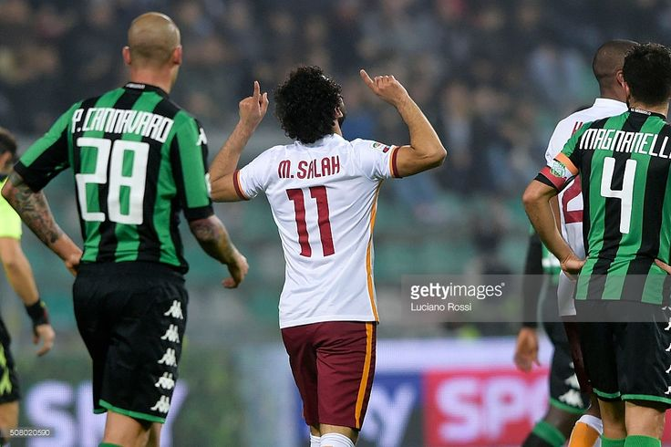 AS Roma player Mohamed Salah celebrates during the Serie A match between US Sassuolo Calcio and AS Roma at Mapei Stadium - Citta del Tricolore on February 2, 2016 in Reggio nell'Emilia, Italy.