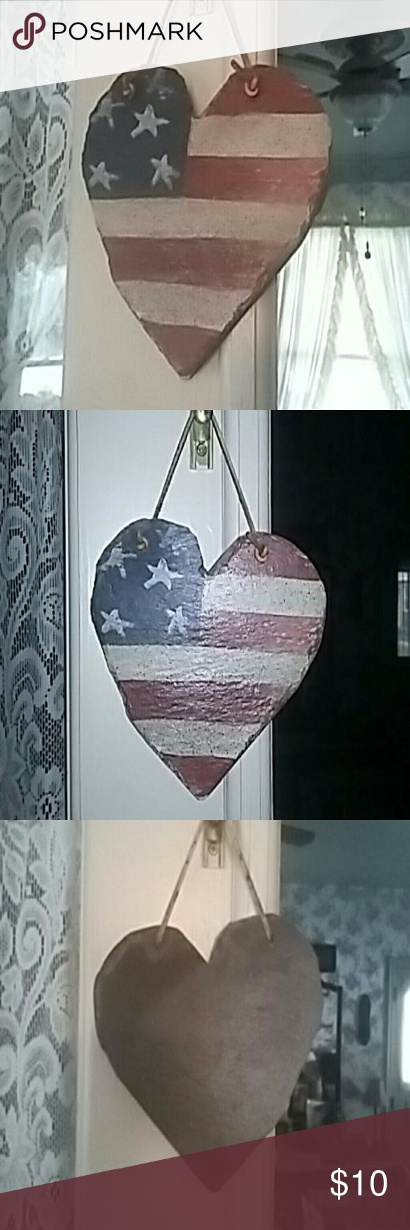 "Primitive Americana Painted Slate Heart 7.5""l × 5.75""w Primitive Americana Painted Slate Hanging Heart. The leather needs replaced. Simple fix.   Primitive  Americana  Country  Folk  Patriotic  USA  Women  Art  Home decor  Home accents  Porch  Indoor  Hanger  Wall  Outdoor  Decor Flag Other"