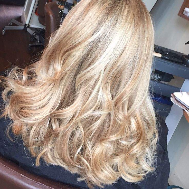Full head of Champagne and soft blonde  woven high- lights