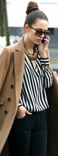 Fashionista: Camel + black & white stripes.
