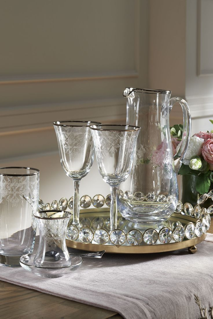 Craft 25 Parça Kadeh Seti / Silver Glass SET #bernardo #tabledesign