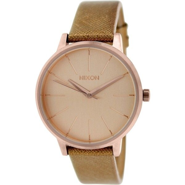Nixon Women's Kensington A1081923  Leather Quartz Watch (665 HRK) ❤ liked on Polyvore featuring jewelry, watches, leather watches, nixon watches, nixon, dial watches and quartz jewelry