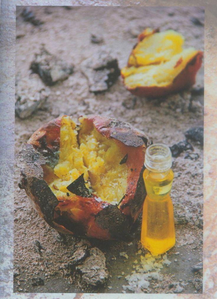 Batata-doce assada com manteiga de garrafa